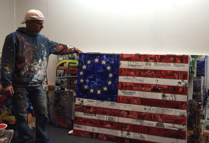 Ron Rundo with flag art
